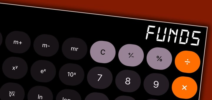 "calculator screen showing the word ""funds"""