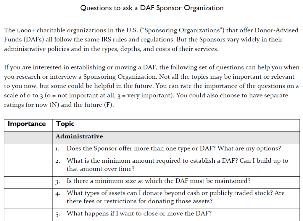 Image of part of the front page of the Questions to Ask DAF Sponsors PDF