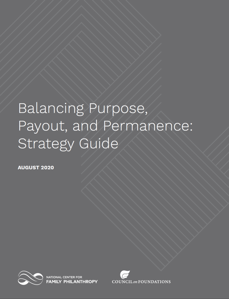 Cover of Balancing Purpose, Payout, and Permanence Strategy Guide PDF #privatefoundation #payout